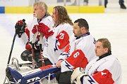 Mistrovství světa v para hokeji 2019, Korea - Česká republika (zápas o 3. místo), 4. května 2019 v Ostravě. Na snímku (zleva) Hrbek Miroslav (CZE), Kvoch Tomas (CZE), Vapenka Michal (CZE), Kudela Martin (CZE).