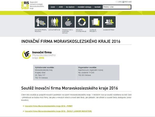 Úvodní stránka webu inovacnifirma.rismsk.cz