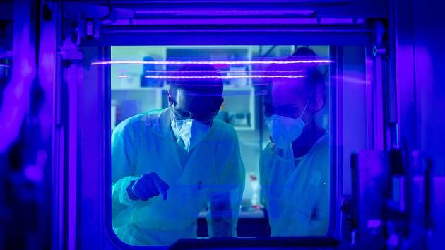 Testování vzorků koronaviru v laboratoři AGELLAB ve Vítkovické nemocnici. Ilustrační foto.