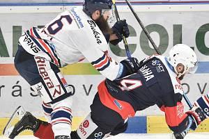 Utkání 46. kola hokejové extraligy: HC Vítkovice Ridera - Piráti Chomutov, 19. února 2019 v Ostravě. Na snímku (zleva) Jan Výtisk a Blaha Lukáš.