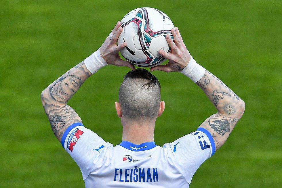 Utkání 26. kolo první fotbalové ligy: FC Baník Ostrava – SFC Opava, 10. dubna 2021 v Ostravě. Jiří Fleišman z Ostravy.
