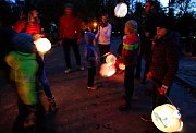 Halloweenský lampionový průvod v ZOO v Ostravě.
