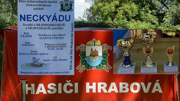 NECKYÁDA v Hrabové. Řeka Ostravice 1. srpna 2020