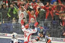 Utkání 43. kola hokejové extraligy: HC Vítkovice Ridera vs. HC Oceláři Třinec, 26. ledna 2018 v Ostravě. Radost Kovařčík Michal.