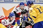 Mistrovství světa hokejistů do 20 let, čtvrtfinále: ČR - Švédsko, 2. ledna 2020 v Ostravě. Na snímku (střed) Libor Zabransky.
