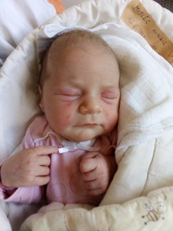 Klaudie Mielec, Krásné Loučky, narozena 16. června 2021, míra 50 cm, váha 3340 g Foto: Pavla Hrabovská