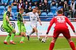 Utkání 25. kola první fotbalové ligy: FC Baník Ostrava - FK Mladá Boleslav, 16. března 2019 v Ostravě. Na snímku (zleva) Jakub Jugas, Michal Hubínek, Denis Granečný, Jan Šeda.