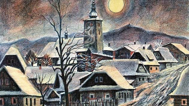Obraz Jana Hrnčárka nazvaný Večer