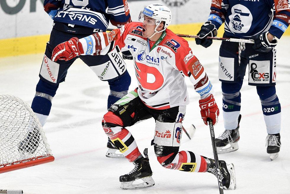 Utkání 24. kola hokejové extraligy: HC Vítkovice Ridera - HC Dynamo Pardubice, 4. prosince 2020 v Ostravě. Matěj Paulovič z Pardubic.