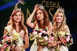 Finále soutěže Česká Miss 2018 v Gongu.  Na snímku vítězky- zleva druhá Jana Šišková, první Lea Šteflíčková, a třetí Tereza Křivánková.