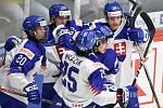 Mistrovství světa hokejistů do 20 let, skupina A: Slovensko - Kazachstán, 27. prosince 2019 v Třinci. Na snímku radost Slovenska (střed) Vladimir Daniel Tkac.