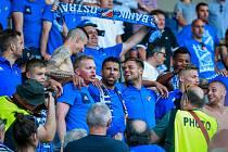 Oslavy hráčů Baníku s fanoušky. Na fotografii Milan Baroš se svými spoluhráči po zápase Baník Ostrava – Zbrojovka Brno, 26. května 2018.