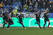 Zápas 17. kola první fotbalové ligy mezi FC Baník Ostrava a 1. FC Slovácko, 17. února 2018 v Ostravě. Radost (vpravo) Tomáš Zajíc ze Slovácka.