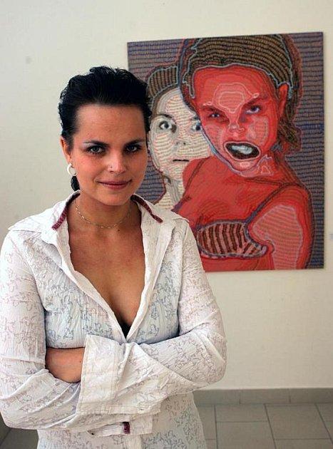Ivana Štenclova při otevření své výstavy v ostravském muzeu