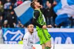 Utkání 25. kola první fotbalové ligy: FC Baník Ostrava - FK Mladá Boleslav, 16. března 2019 v Ostravě. Na snímku (zleva) Martin Šindelář, Nikolay Komlicheyko.