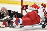 Mistrovství světa hokejistů do 20 let, finále: Rusko - Kanada, 5. ledna 2020 v Ostravě. Na snímku (zleva) Grigori Denisenko a brankář Kanady Joel Hofer.