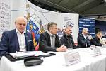 Tisková konference k Mistrovství světa v para hokeji 18. ledna 2019 v Ostravě.