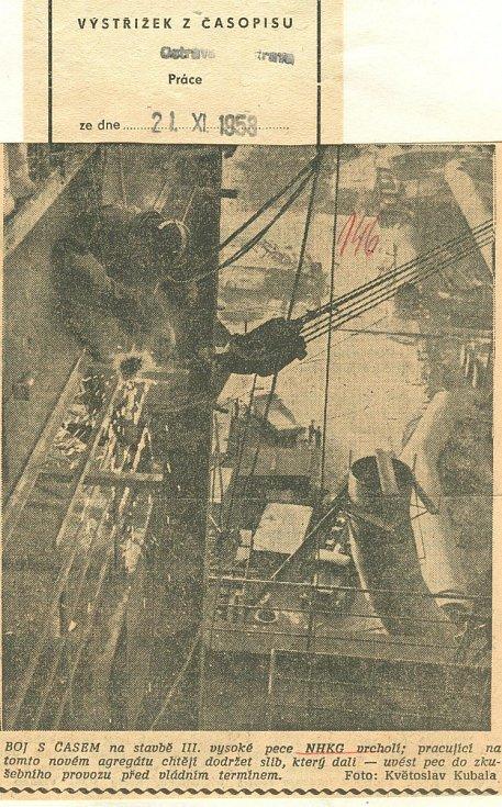 Výstřižek z časopisu ohledně stavby vysoké pece č. 3 (21.11.1958).