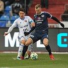 Zápas 17. kola první fotbalové ligy mezi FC Baník Ostrava a 1. FC Slovácko, 17. února 2018 v Ostravě. (vlevo) Hrubý Robert a Stanislav Hofmann ze Slovácka.