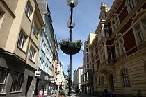 Květiny v ozdobných truhlících už zdobí například sloupy veřejného osvětlení v Poštovní ulici.
