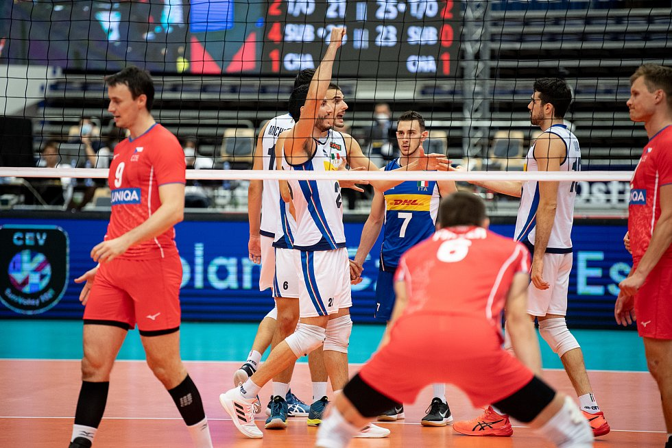 Utkání skupiny B mistrovství Evropy volejbalistů: ČR - Itálie, 9. září 2021 v Ostravě. (střed) radost italského týmu Giulio Pinali z Itálie.