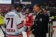 Utkání 34. kola hokejové extraligy: HC Vítkovice Ridera - HC Oceláři Třinec, 12. ledna 2019 v Ostravě. Na snímku (zleva) Lukáš Kucsera.