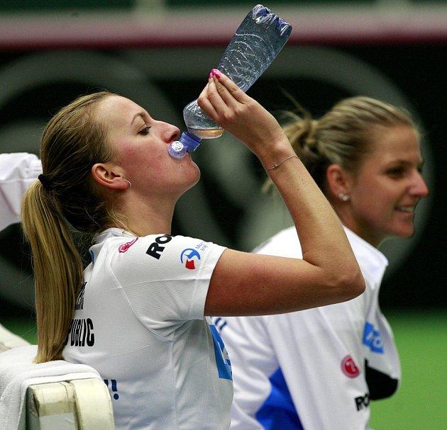 Trénink českého fedcupového týmu v Ostravě, na snímku vlevo Petra Kvitová, vpravo Karolína Plíšková.