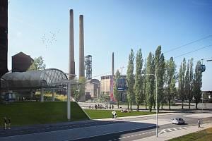 Vizualizace lanové dráhy v Ostravě, nástupní stanice DOV.