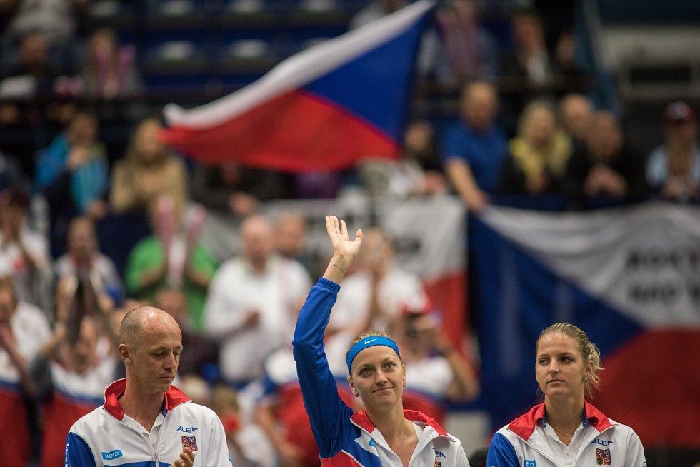 Petra Kvitová v Ostravě, duben 2015, FedCup - semifinále Česko vs. Francie.