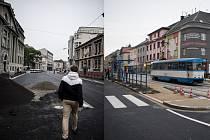 Nádražní ulice (snímek vlevo) a ulice 28. října v Mariánských Horách (vpravo).