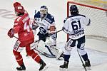 Utkání 3. kola hokejové extraligy: HC Oceláři Třinec - HC Vítkovice Ridera, 15. prosince 2020 v Třinci. (zleva) Matěj Stránský z Třince se raduje z gólu.