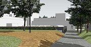 Vizualizace. Projekt využívá terénní zlomy, jedno patro bude nad úrovní, druhé pod úrovní terénu.