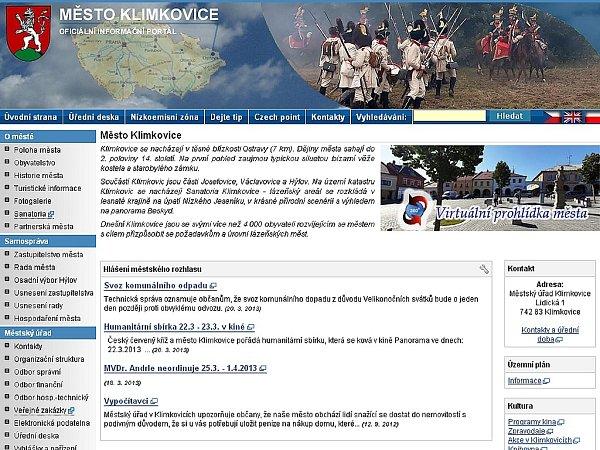 Webové stránky Klímkovic