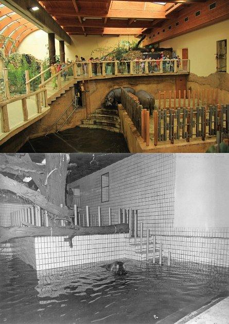 Porovnání vnitřku pavilonu rok 2012x rok 1975.