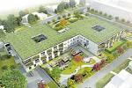 Vizualizace. Domov Hulváky bude mít podobu dvou čtvercových vzájemně propojených budov. V okolí vznikne malý park a parkovací místa.