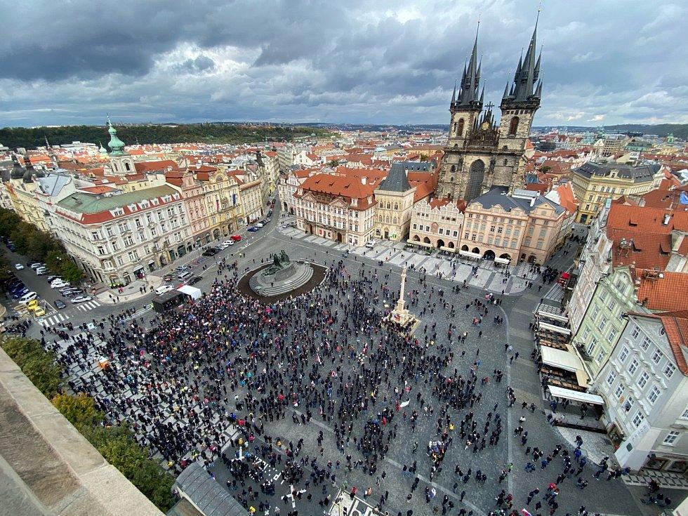Demonstrace Praha, Staroměstské náměstí, 18. října 2020.