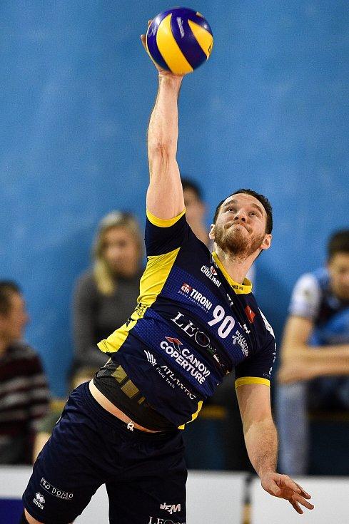 Zápas CEV Volleyball Cup 2020, VK Ostrava - Leo Shoes Modena, 12. února 2020 v Ostravě. Denys V. Kaliberda z Modeny.