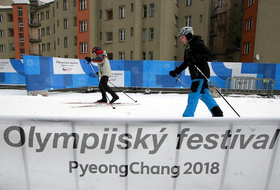 Olympijský festival u Ostravar arény. Dráha pro běžkaře