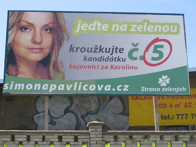 Předvolební bilboard Simony Pavlicové