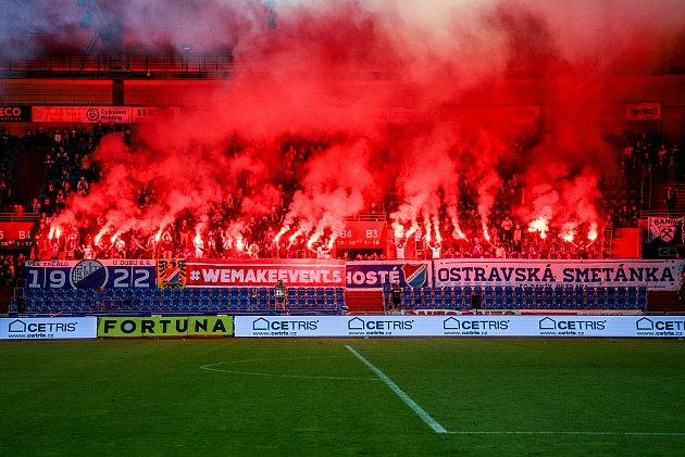 Fanoušci Baníku. Ilustrační foto. FC Baník Ostrava - Slavia Praha, 4.října 2020vOstravě.