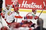 Mistrovství světa hokejistů do 20 let, finále: Rusko - Kanada, 5. ledna 2020 v Ostravě. Na snímku radost Ruska (Alexander Khovanov, Danila Galenyuk a Grigori Denisenko).