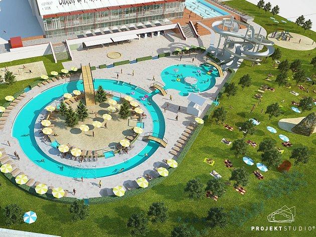 Takto by mohla vypadat třetí etapa rozšiřování venkovního areálu u krytého bazénu v Porubě.