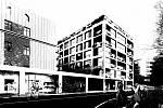 Společnost Promet Group rovněž navrhuje bytový dům. Nová nabídka je doplněna o pater v levé spodní části návrhu. Vizualizace.