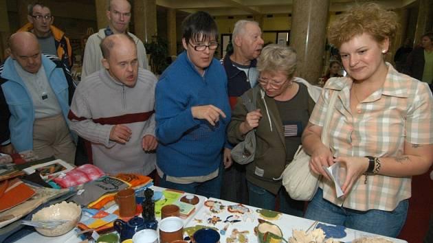 Součástí Evropských dnů handicapu byl i úterní jarmark v Domě kultury města Ostravy. Postižení tu vystavovali a prodávali svoje výrobky.