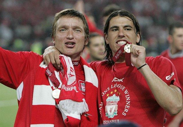 Vladimír Šmicer a Milan Baroš po výhře vLize mistrů 2005.Foto: archiv