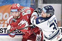 Utkání 7. kola hokejové extraligy: HC Vítkovice Ridera - HC Oceláři Třinec, 3. října 2019 v Ostravě. Na snímku (zleva) Tomáš Marcinko a Dominik Lakatoš.