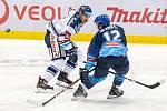Utkání 17. kola hokejové extraligy: HC Vítkovice Ridera - Rytíři Kladno, 3. listopadu 2019 v Ostravě. Na snímku zleva Dominik Lakatoš, Štěpán Bláha.