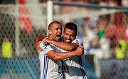 radost, gól, vlevo Marek Hlinka, vpravo Milan Baroš