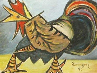 Nejdražší položkou aukce je obraz s názvem Kohout