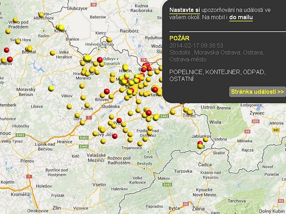 Ukázka z webu streetalert.cz.